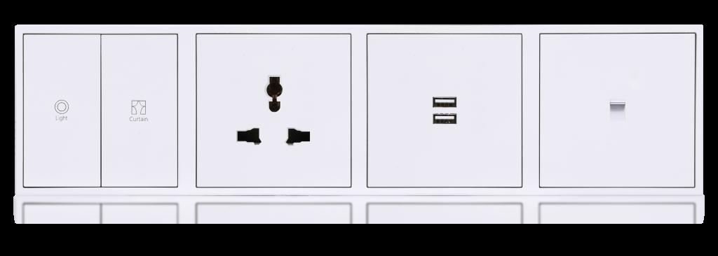 HDL Tile 4 секции розетки iviry white