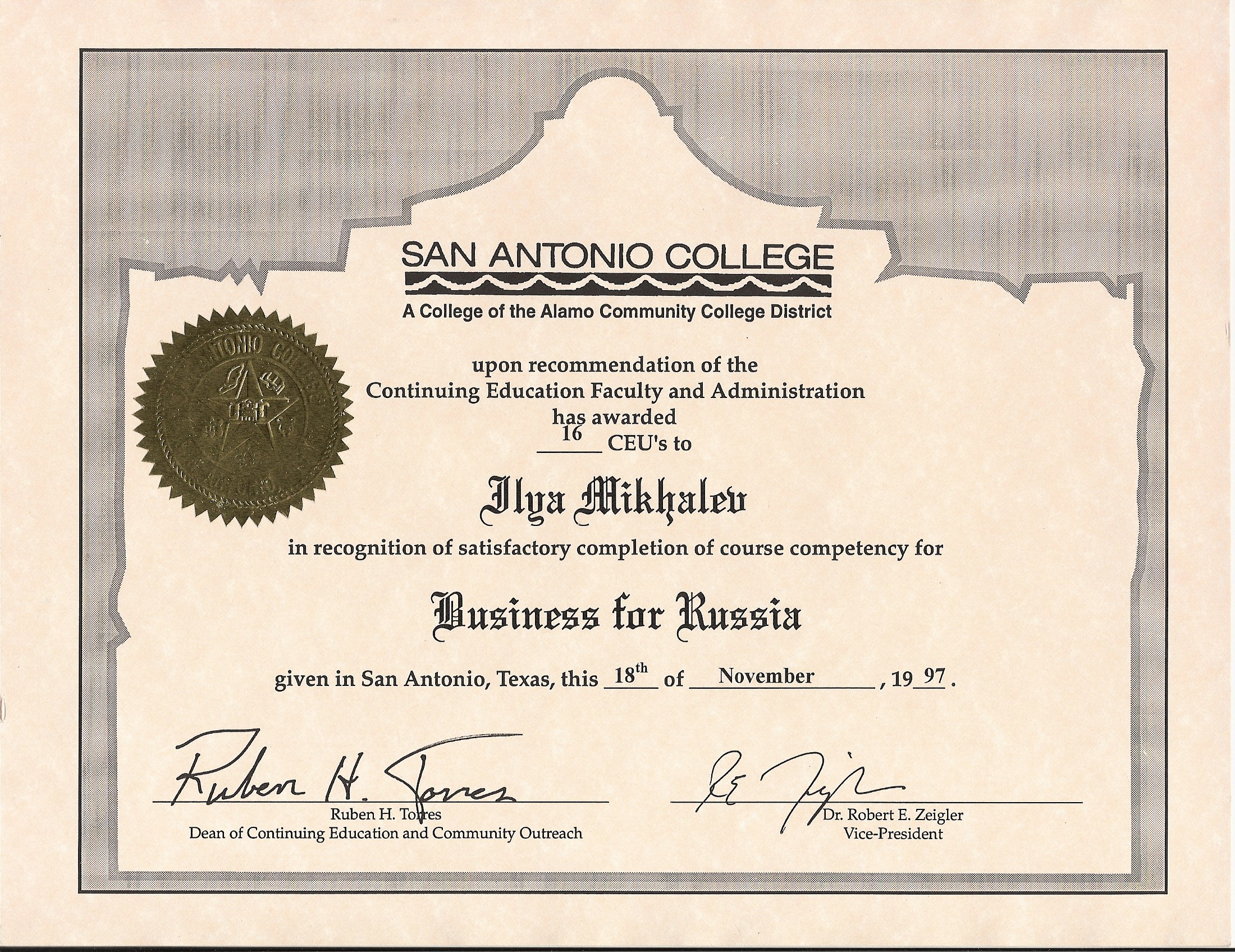 1997 Certificate Business For Russia USA